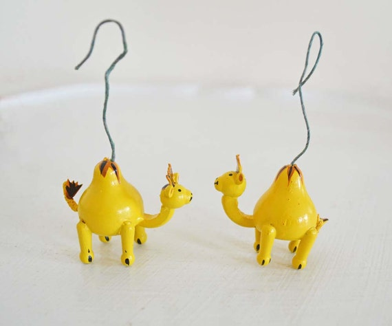 Vintage Wood Christmas Ornament Camel Pair Yellow Brown Christmas Tree Decoration Animal Noah's Ark