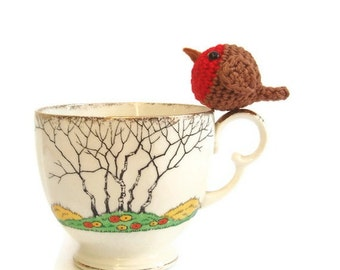 Crochet robin pattern pdf,  tiny robin christmas decoration pattern