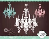 Chandelier clipart vintage french digital illustration for scrapbooking wedding invitation (KG030)