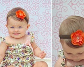 Best Seller-Baby Headband, Baby Girl Headband-Small Orange Fall Festive Flower on Brown Elastic Headband