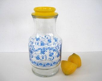 Vintage Glass Carafe Decanter Beverage Server 48 oz Yellow Blue Kitchen Anchor Hocking Large Floral