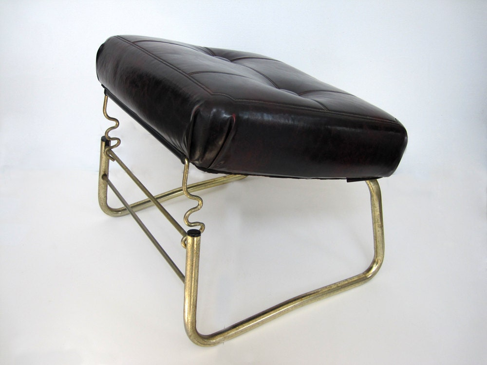 Mid Century Footstool Adjustable Foot Stool Leg Lounger Vinyl