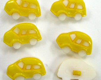Dark Yellow Car Buttons Set of Six