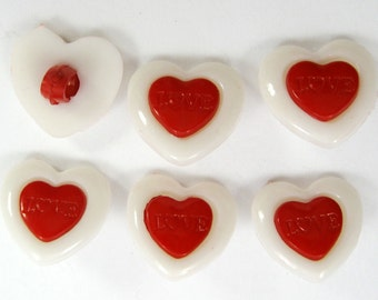 White and Red Heart Buttons Set of Six
