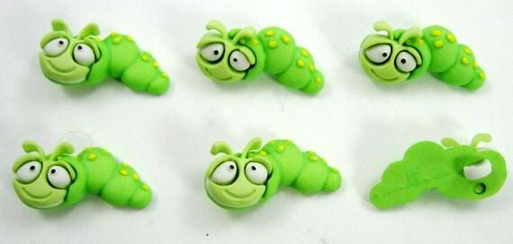 Green Caterpillar Buttons Set of Six