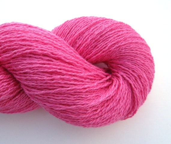 Lace Weight Silk Cashmere Recycled Yarn, Hot Pink, 720 yards