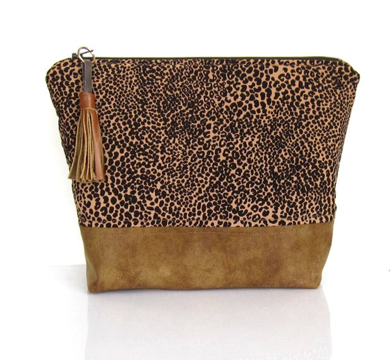 Fabric cosmetic bag pouch toilet bag leopard print