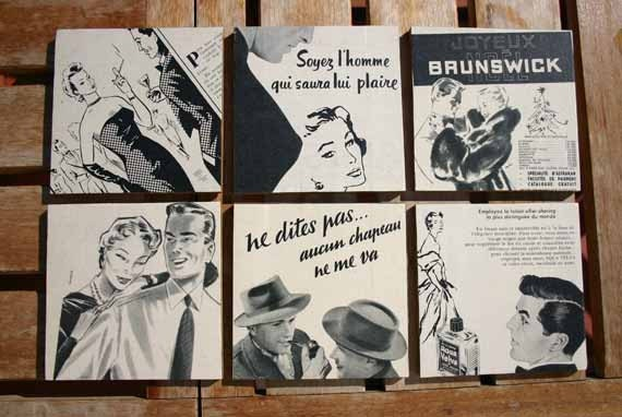Decoupaged Reclaimed Wooden Coasters French Mad Men Style Set