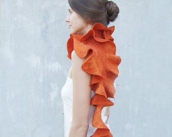 Orange felt scarf wool ruffle pumpkin felted wool weddings idea, tangerine  winter