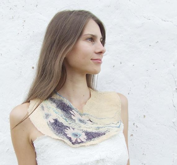 Yellow melon blue necklace, felted wool bib collar, neck piece, pastel weddings gift idea fall fashion oht
