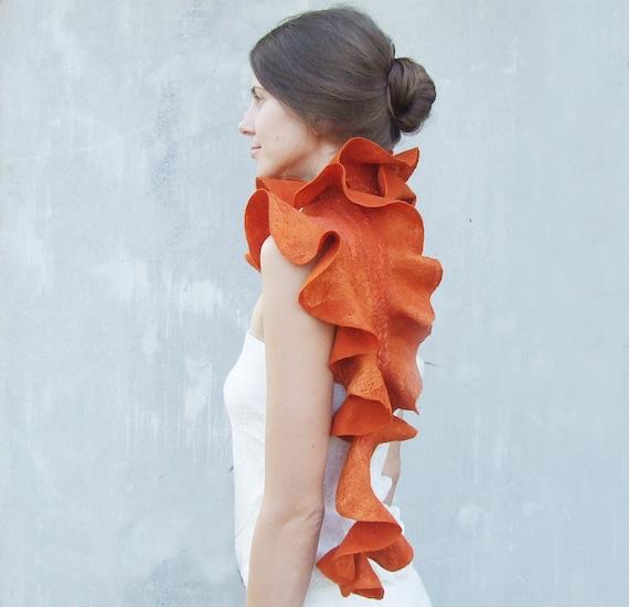Orange felt scarf wool ruffle pumpkin felted wool weddings idea, tangerine  winter