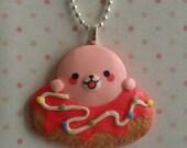 Cute Chubby Mamegoma Pink Donut Pendant & Necklace Set.