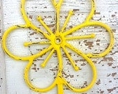 Bright Yellow Flower Wall Hook - in California Yellow Gold - Bright Wall Decor - Rustic Shabby Chic - Metal Wall Decor