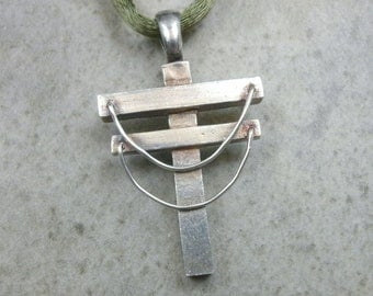 Power Line Necklace- Fine Silver Pendant- Utility Linemen- Utility Pole- Powerline Pendant- Hidden Cross Jewelry- Industrial- Lineman