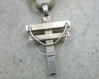 Power Line Necklace- Fine Silver Pendant- Utility Linemen- Utility Pole- Powerline Pendant- Hidden Cross Jewelry- Industrial- Lineman