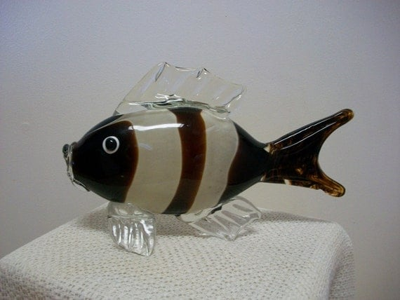 30 % OFF Gorgeous Vintage Murano Art Handblown Glass Fish Brown Stripe