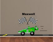 Green Race Car Wall Decal Driver racing to finish line (Wall Sticker) - HD