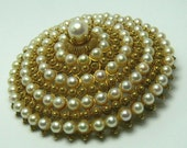 Estate Glamour!! Natural Pearl & Gold Brooch/Pendant 18k