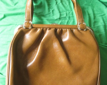 """russet and silver """""""" unique 1960s frame bag"""