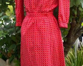 cardinal red geometric print dress