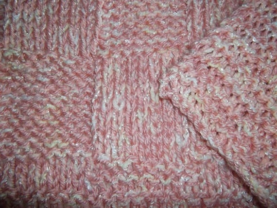 Checkerboard Knitting Pattern Blanket : Hugs to Go Checkerboard Knitted Baby Afghan Blanket Peach