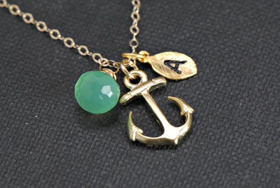 Gold Anchor Necklace,Gemstone Personalized Anchor Necklace Monogram, Nautical Theme Gift, Wedding Jewelry, Bridesmaid Jewelry