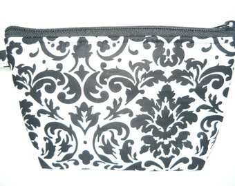 Black and White Damask make up bag