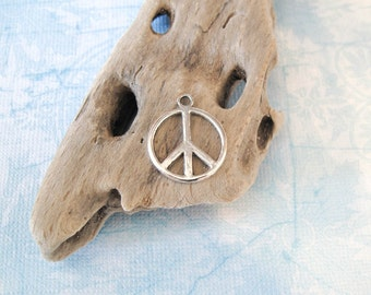 Peace Sign Charm - 15 Silver Peace Symbol Charms