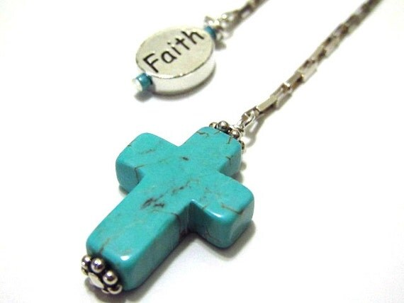 Bookmark/Book thong Sterling Silver Faith Charm Turquoise Cross Beaded Religious