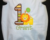 Lion Applique Birthday Bubble Romper Personalized with Name
