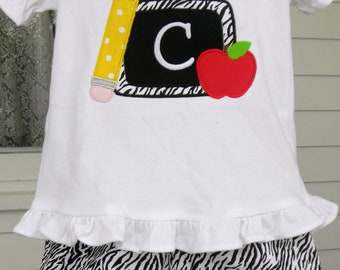 Handmade Personalized Back to School Outfit Chalkboard Pencil Apple Applique Shirt and Zebra Ruffle Shorts FAST SHIPPING