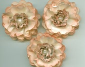 Light Ivory and Book Print Peony Paper Flowers Aged look with ink