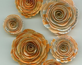 Orange and Blue Handmade Spiral Paper Flowers