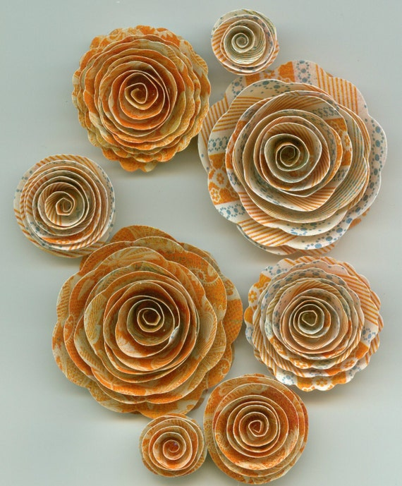 Limited Orange and Blue Handmade Spiral Paper Flowers