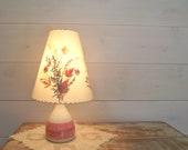 Reserve Listing for Lara Floral Table Lamp Handcrafted Pottery Base and Pressed Flower Shade White and Pink Cottage Decor Girls Room Decor
