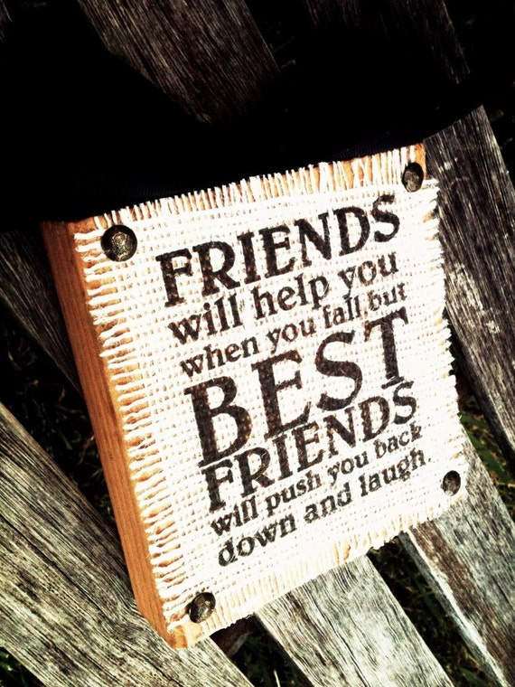 Friends,Best Friends Wood Block Burlap Sign App 6x6
