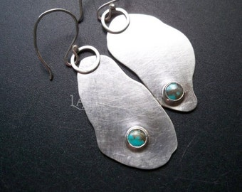 "Sterling silver turquoise asymmetrical fragments free form earrings - 2 1/4"" - Gemstone metal jewelry by Lamazonian"