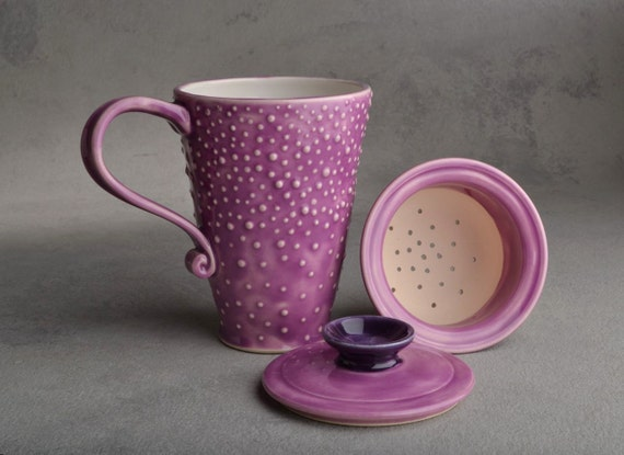 Lidded Dottie Tea Mug : Orchid and White Stoneware Dottie Tea Mug with Lid and Infuser by Symmetrical Pottery