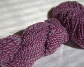 Handspun 2-ply yarn with purple stripes, bright & light, 130yd aran weight Columbia wool, 8 WPI