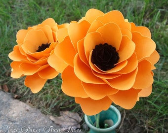 Paper Flowers - Wedding Bouquet - Home Decor - Stemmed - DIY Wedding - Made To Order - Orange - Set of 24