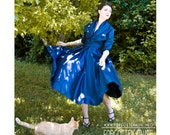 HALF OFF today - 50s - designer midnight blue two piece cocktail dress and bolero jacket - size S