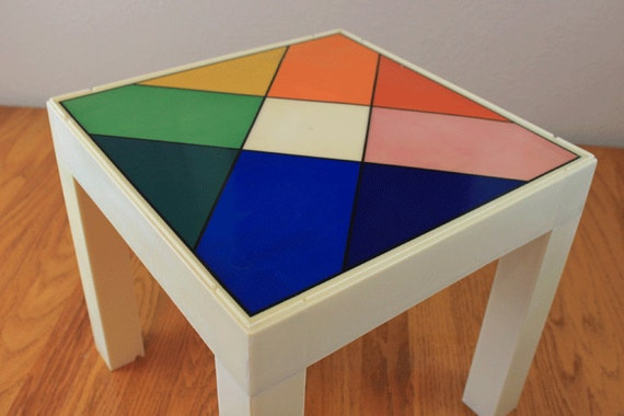 Retro End Table - Rainbow Diamond Pattern - Classic Mid Century Modern
