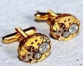 GIRARD PERREGAUX Steampunk Cufflinks: Very RARE Luxury Swiss Gold Vintage Watch Movement - Men Steampunk Cufflinks Cuff Links Wedding Gift