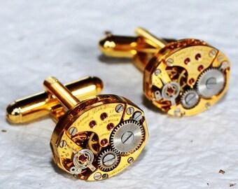 GIRARD PERREGAUX Steampunk Cufflinks: Very RARE Luxury Swiss Gold Vintage Watch Movement Men Steampunk Cufflinks Cuff Links Wedding Gift