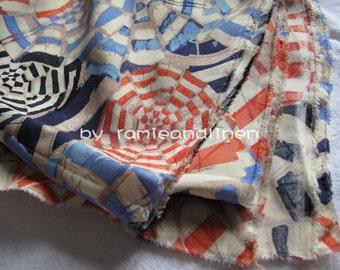 """silk fabric, double georgette silk fabric, watercolor of umbrellas or cobweb, STRETCH Silk, dress silk, half yard by 42"""" wide"""