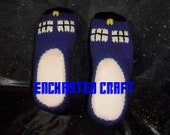 TARDIS Slipper- hand knitted and inspired by Dr who