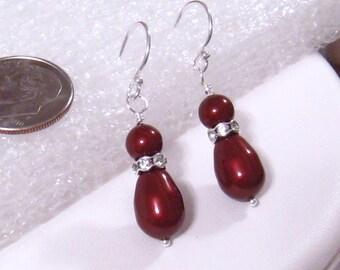 Apple Red Pearl Earrings, Red Bridesmaids Earrings, Swarovski Bordeaux Apple Red Pearl Wedding Jewelry, Sterling Silver, Bridesmaids Gift
