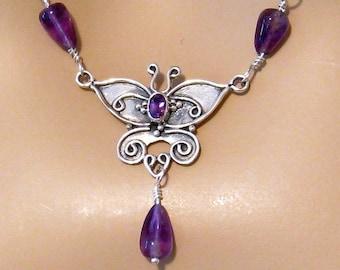 Purple Necklace, Purple Butterfly Necklace, Sterling Silver, Amethyst, Plum