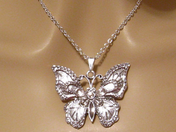 Large Butterfly Necklace Silver Butterfly Necklace Art - photo#12