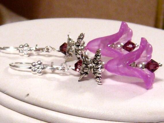 Long Purple Flower Earrings: Swarovski Crystal and Purple Calla Lily Earrings Bridal Wedding Jewelry Bridesmaids Gift